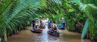 rowing sampan mekong river 320x240 - MEKONG DELTA SHORE EXCURSIONS